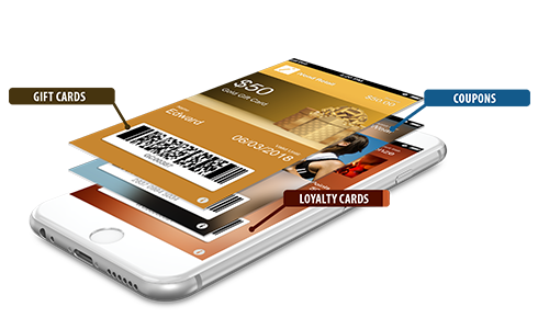 Gift cards, coupons and loyalty cards on a mobile phone