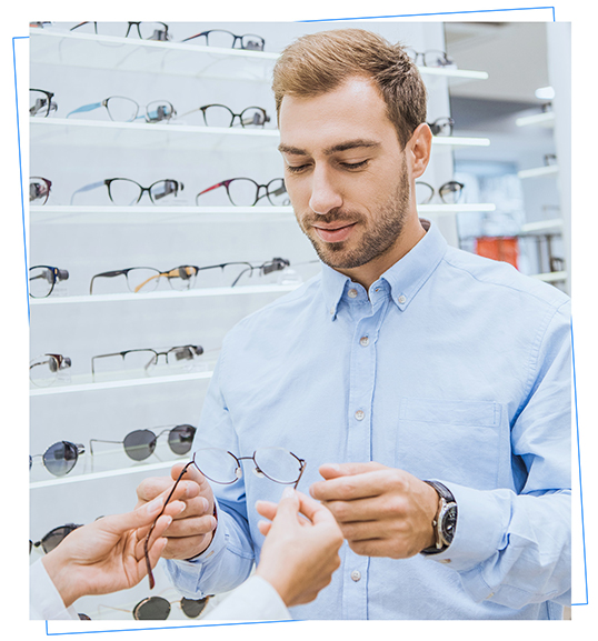 Retail customer trying on prescription glasses